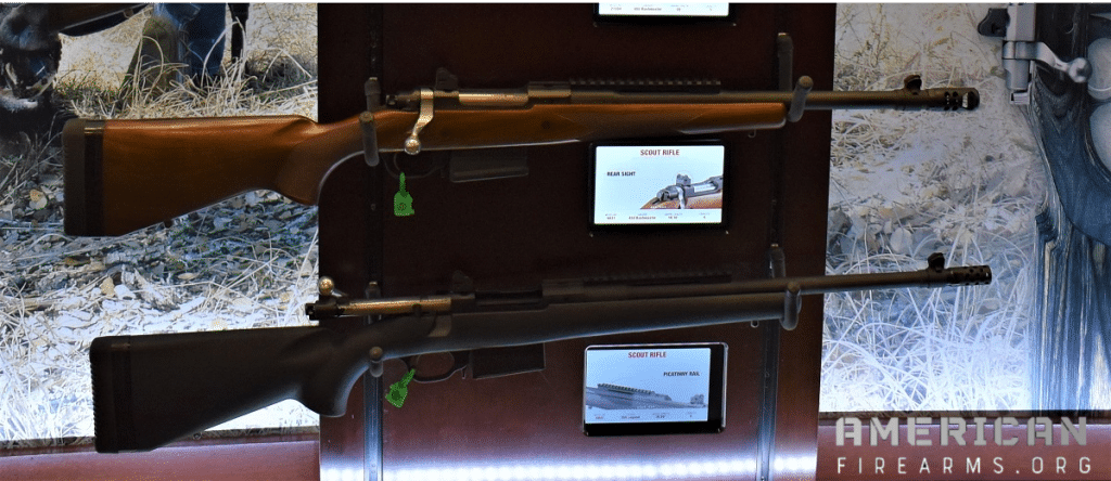 Ruger Scout Rifles in a gun rack